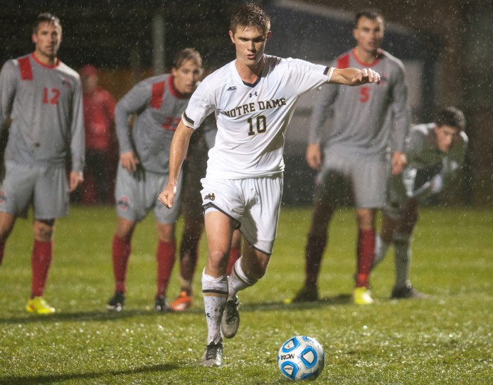 Irish sophomore defender Brandon Aubrey lines up a penalty kick during Notre Dame's 2-1 win over Ohio State on Sunday night.