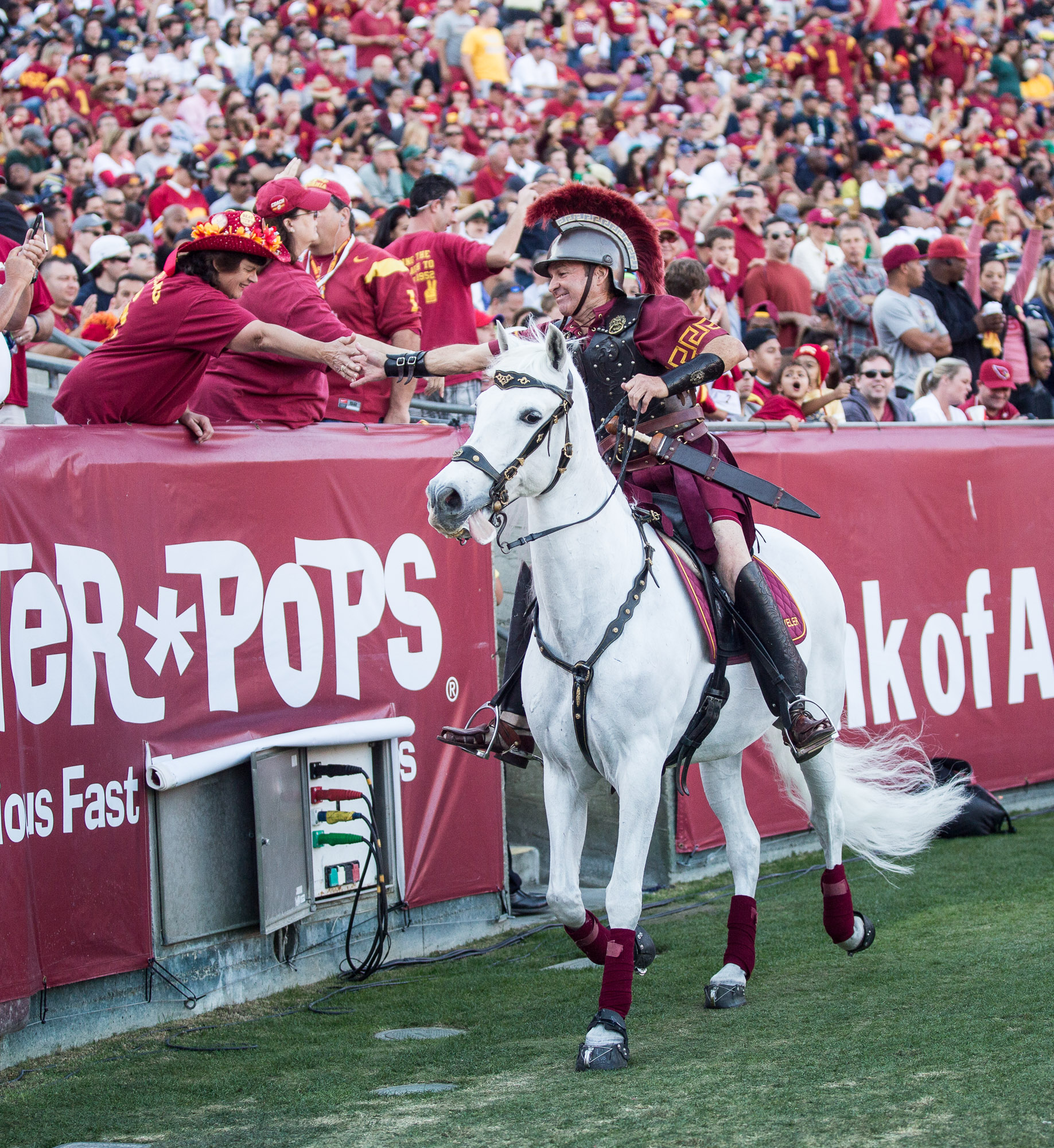 Trojans mascot shakes hands with a fan in the LA Coliseum.