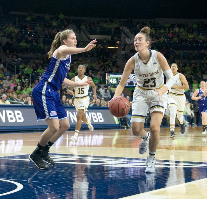 Irish junior guard Michaela Mabrey drives to the basket during Notre Dame's 104-29 victory over Holy Cross on Nov. 23 at Purcell Pavilion. Mabrey scored 17 points in Notre Dame's win over Kansas on Sunday.