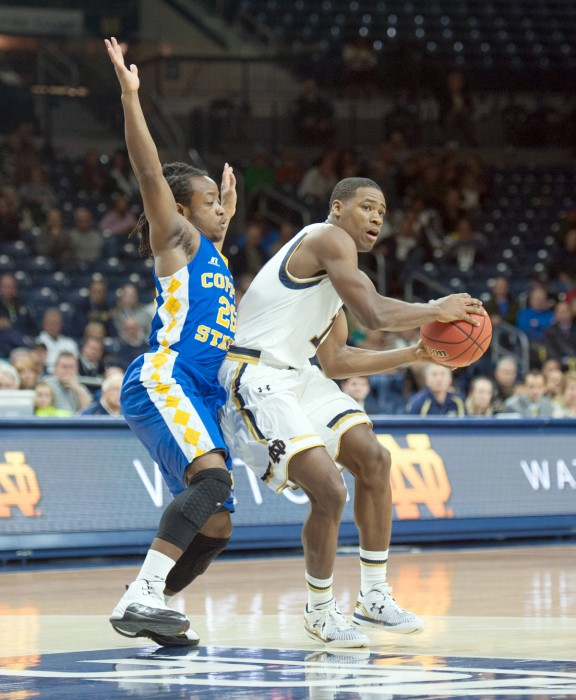 Irish sophomore guard Demetrius Jackson looks to pass during Notre Dame's 104-67 win over Coppin State on Nov. 19 at Purcell Pavilion.