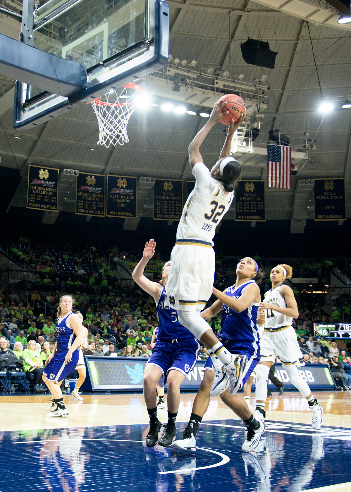 Irish junior guard Jewell Loyd puts up a shot during Notre Dame's 104-29 win over Holy Cross. Loyd finished with 17 points.