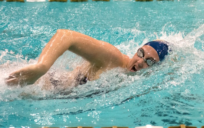Freshman Molly Treble competes in the 200-yard freestyle in Notre Dame's  170-128 loss to No.25 Purdue on Nov. 1.