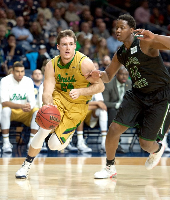 Irish senior guard/forward Pat Connaughton cuts by a defender during Notre Dame's 90-42 win over Chicago State on Nov. 29.