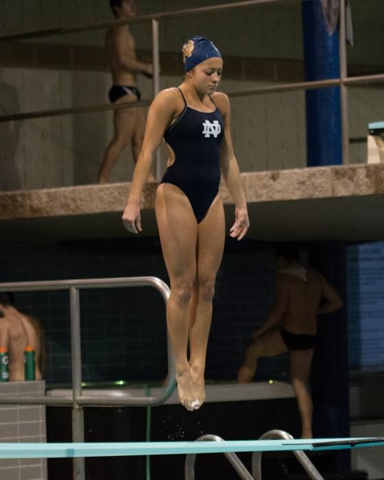 Irish senior Allison Casareto prepares to dive Nov. 1 against Purdue at Rolfs Aquatic Center. Notre Dame lost the meet 170-128.