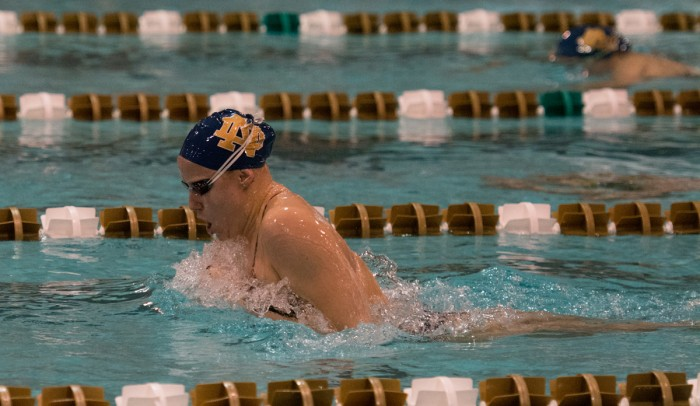 Irish senior Emma Reaney swims in a breaststroke event at Rolfs Aquatic Center against Purdue on Nov. 1. Notre Dame lost,170-128. Reaney won a silver medal at the FINA Short Course World Championships.