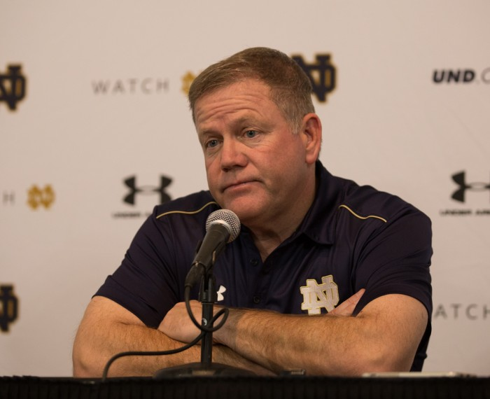 Irish coach Brian Kelly speaks to reporters after the Irish lost to USC, 49-14, on Nov. 29. Notre Dame will appear in the Franklin American Mortgage Music City Bowl against LSU in Nashville, Tennessee on Dec. 30.