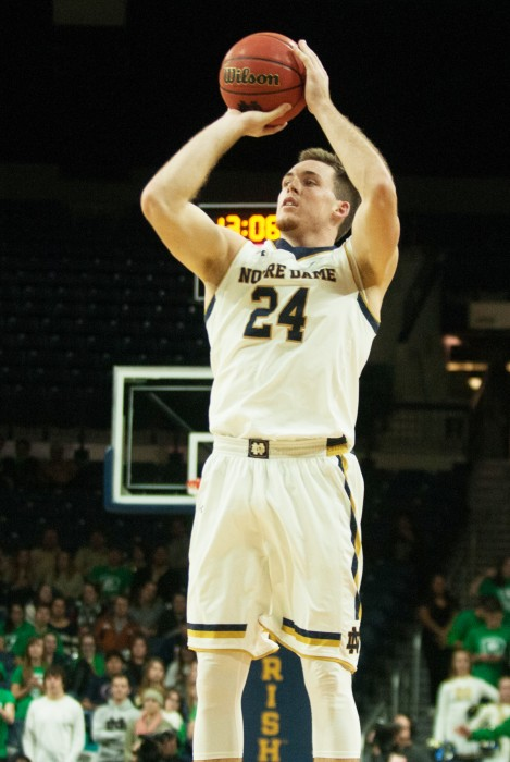 Irish senior guard/forward Pat Connaughton takes a jump shot during Notre Dame's 75-57 win over Farleigh Dickinson at Purcell Pavilion on Saturday night. Connaughton led all scorers with 19 points Saturday, shooting 8-of-13 from the field.