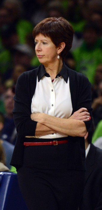 Irish coach Muffet McGraw looks on during Notre Dame's 76-58 loss to Connecticut on Saturday.