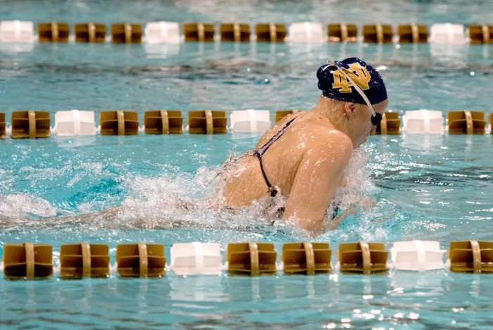 Irish senior Emma Reaney swims the length of the pool during a meet against Purdue on Nov. 1 at the Rolfs Aquatic Center.