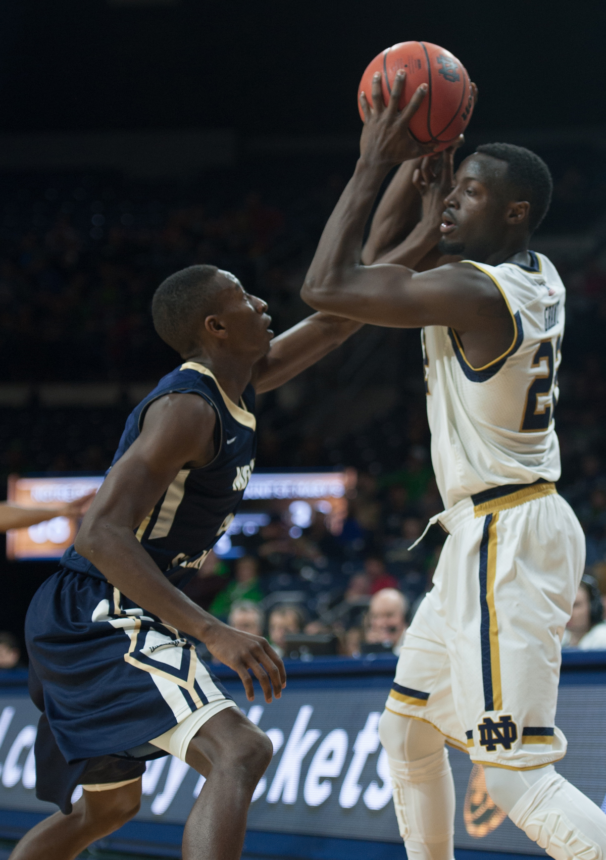Irish senior guard Jerian Grant protects the ball during Notre Dame's 93-67 victory over Mount St. Mary's on Dec. 9.