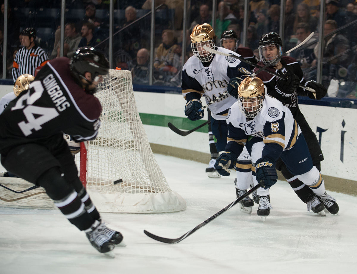 Irish senior defenseman Robbie Russo stretches out to try and knock a shot away during Notre Dame's 3-2 overtime loss to Union at Compton Family Ice Arena. Russo leads the Irish with 17 points and also earned Hockey East Defensive Player of the Week honors last week.