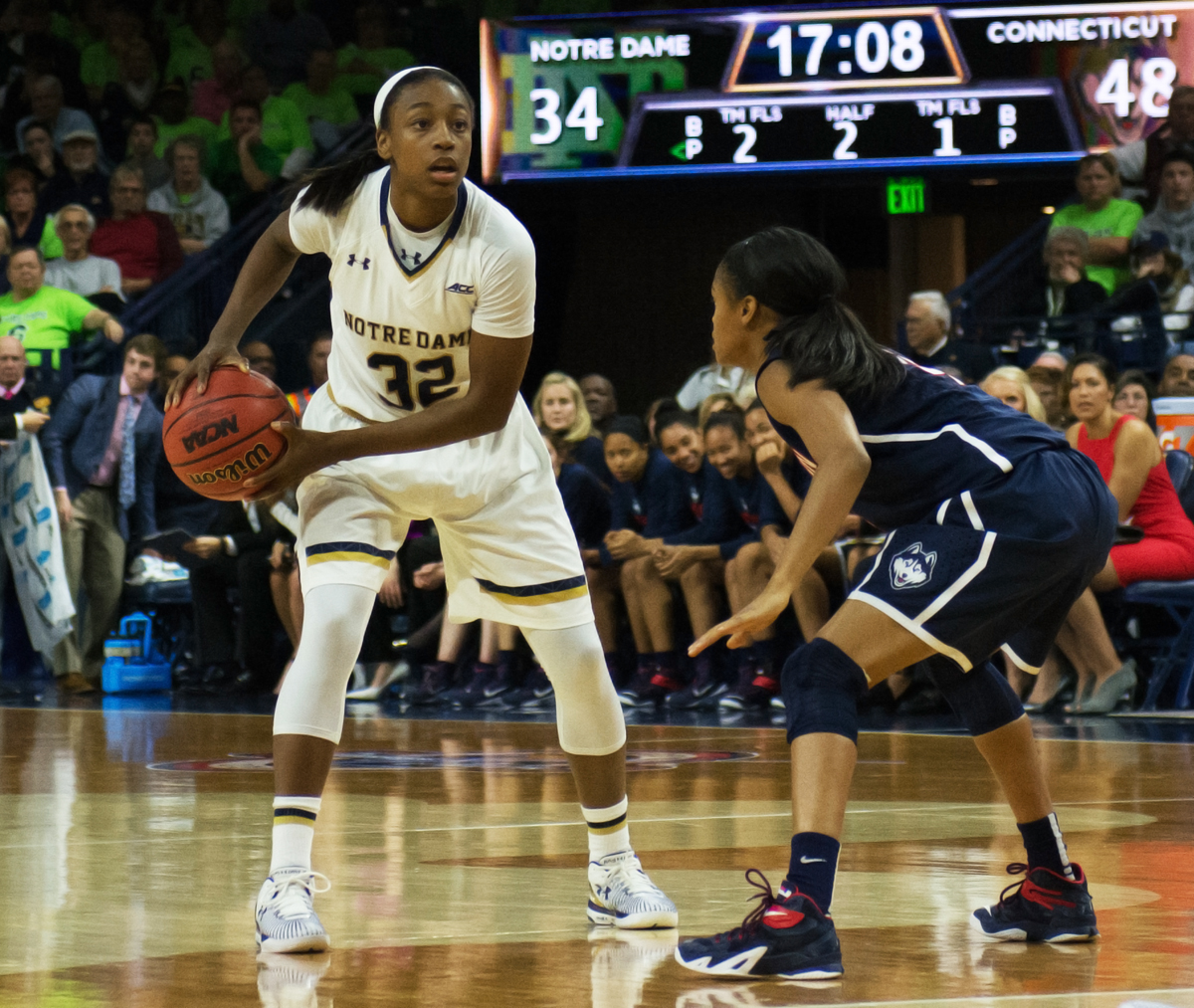 Irish junior guard Jewell Loyd surveys the court Dec. 6 against Connecticut at Purcell Pavilion.