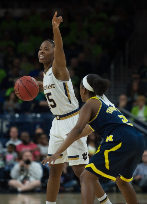 Irish sophomore guard Lindsay Allen calls out a play during Notre Dame's 70-50 win over Michigan on Dec. 13 at Purcell Pavilion.