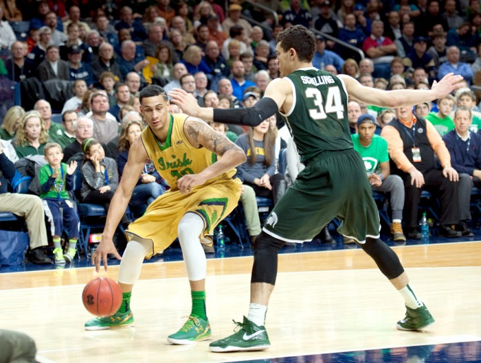 Irish junior forward Zach Auguste attacks the post during Notre Dame's 79-78 win over Michigan State on Dec. 3.