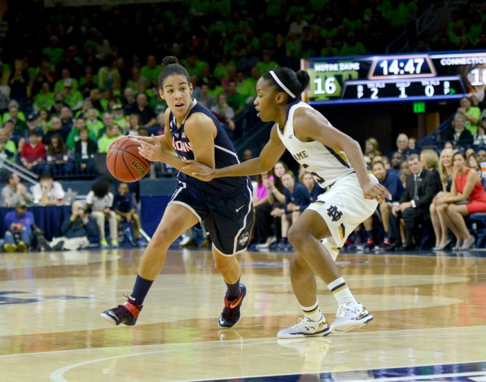 Irish sophomore guard Lindsay Allen plays tight defense during Notre Dame's 76-58 loss to  Connecticut on Dec. 6 at Purcell Pavilion.