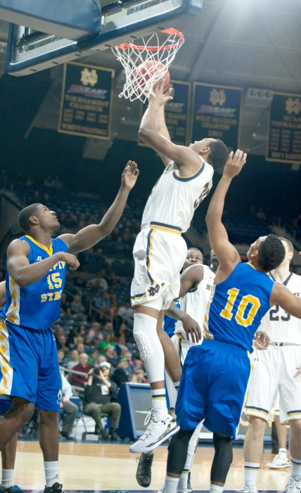 Irish freshman forward Bonzie Colson snags a rebound during Notre Dame's 104-67 win over Coppin State on Nov. 19 at Purcell Pavilion.