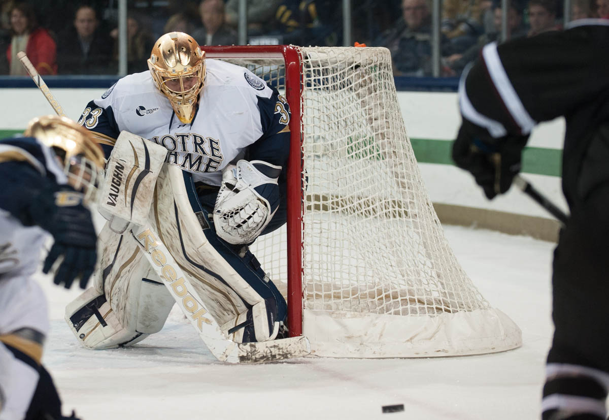 Irish freshman goalie Cal Petersen tracks the puck during Notre Dame's 3-2 overtime loss to Union College on Nov. 28 at Compton Family Ice Arena. Petersen is 5-8-1 with a .904 save percentage between the pipes.