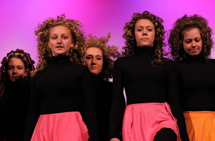 "Members of the Notre Dame/Irish Dance team perform a dance from their annual showcase, ""We Got the Beat,"" during a dress rehearsal Thursday."