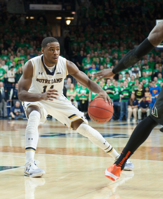 Irish sophomore guard Demetrius Jackson fakes out a defender in Notre Dame's 75-70 win over Miami on Jan. 17 at Purcell Pavilion.