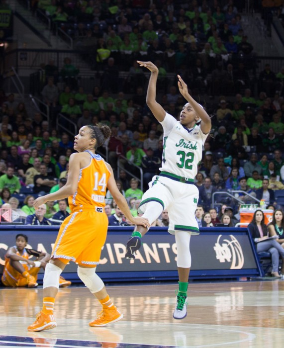 Irish junior guard Jewell Loyd puts up a three in Notre Dame's 88-77 win over Tennessee on Monday at Purcell Pavilion. Loyd netted 34 points in leading Notre Dame to its fifth straight win over the Lady Vols.