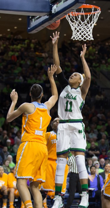 Irish freshman forward Brianna Turner goes up for a layup in Notre Dame's 88-77 win over Tennessee on Monday at Purcell Pavilion.