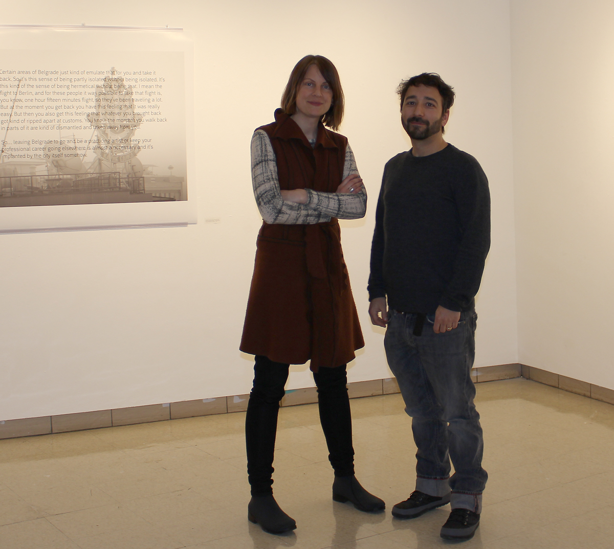 """Artists Melissa Potter, left, and Mat Rappaport presented two next exhibits to the Saint Mary's community in the Moreau Galleries, titled """"Touristic Intents"""" and """"Homeland: Chicago & Belgrade Diasporas."""""""