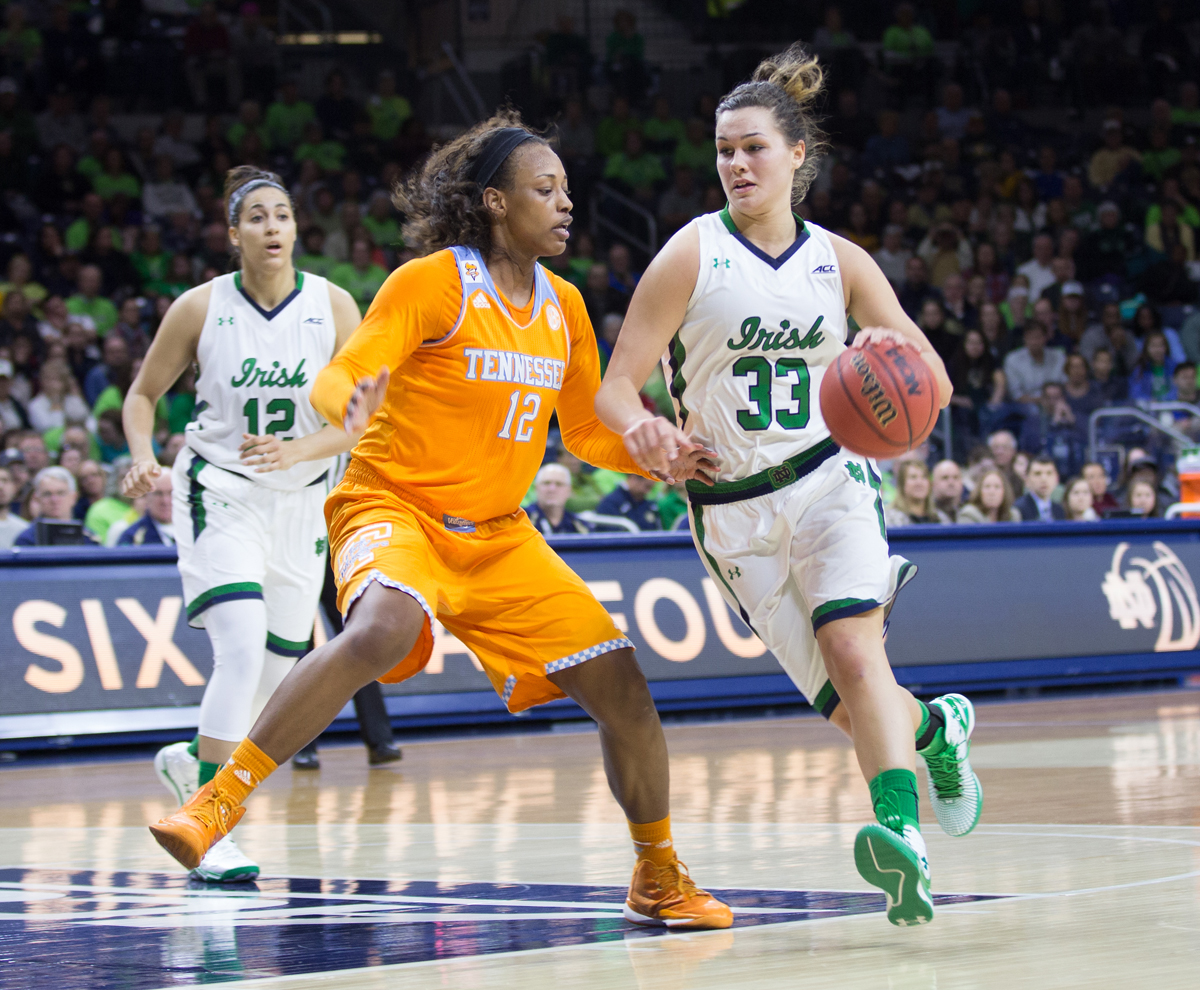 Irish freshman forward Kathryn Westbeld drives to the hoop during Notre Dame's 88-77 win over  Tennessee on Monday at Purcell Pavilion.