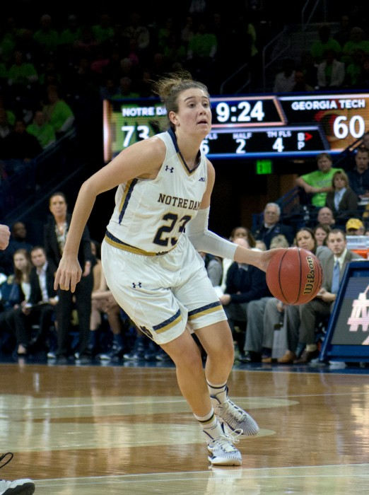 Irish freshman forward Kathryn Westbeld surveys the defense during Notre Dame's 89-76 win Thursday over Georgia Tech at Purcell Pavilion.