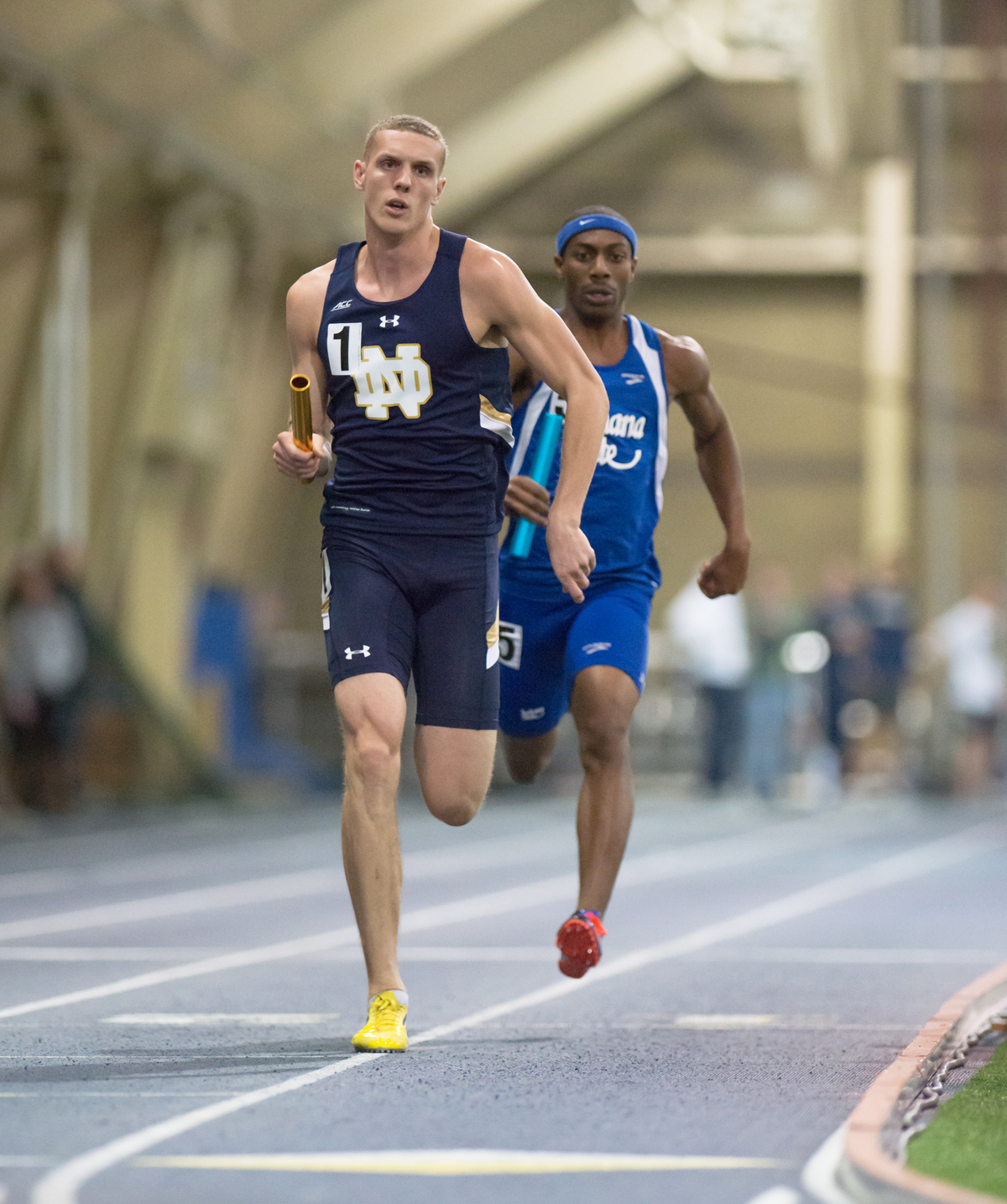 Irish sophomore Harvey Smith runs the lead leg of Notre Dame's 4x400-meter relay at the Notre Dame Invitational on Saturday.