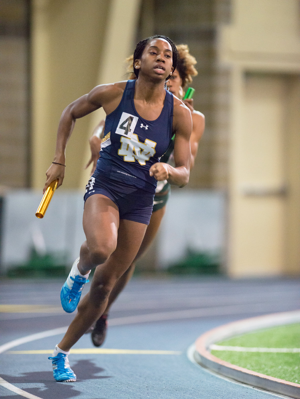 Irish junior Margaret Bamgbose races around the turn in Notre Dame's second-place 4x400-meter relay Saturday.