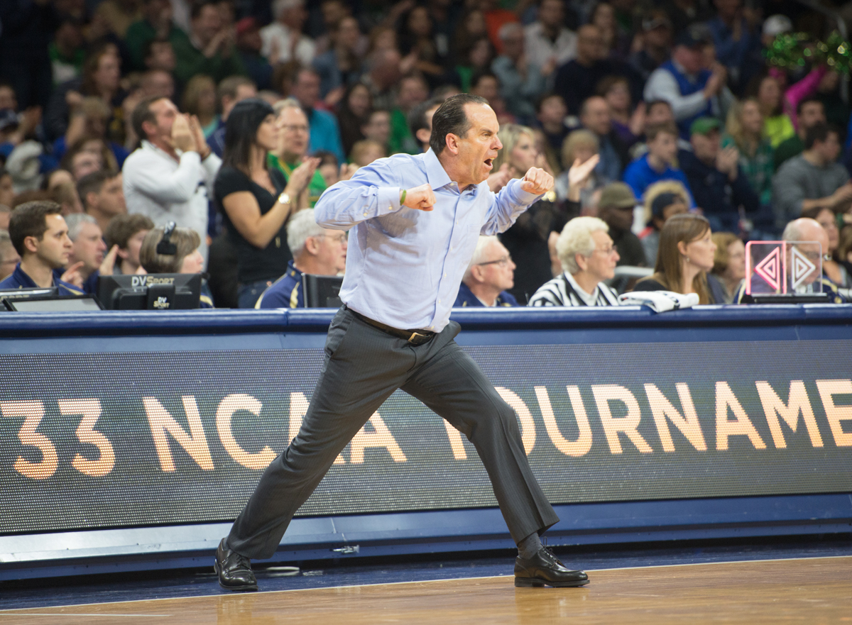 Irish coach Mike Brey cheers from the sidelines during Notre Dame's come-from-behind win against Miami on Jan. 18.