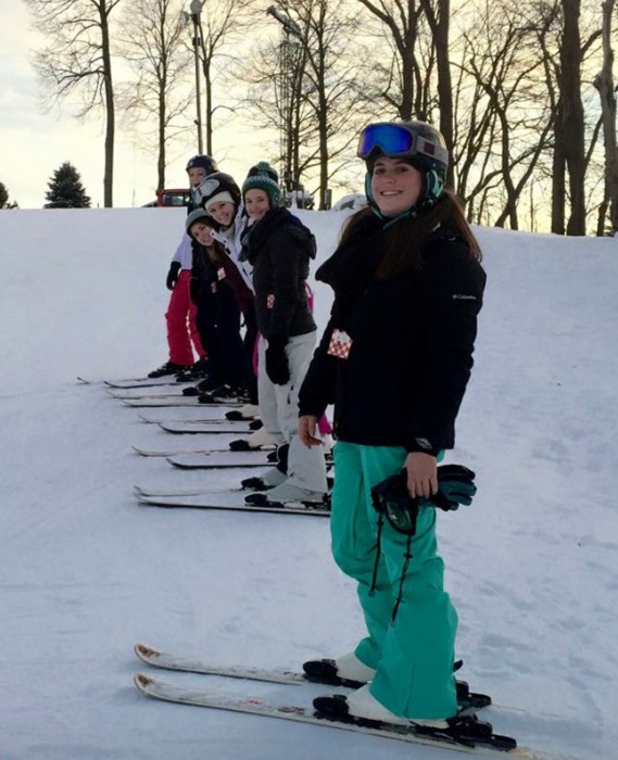 Members of the Saint Mary's SnowBelles club ski and snowboard at Swss Valley Ski Resort in Jones,  Michigan. Lissa Stachnik, president and founder of the SnowBelles, said the club goes there once a week.