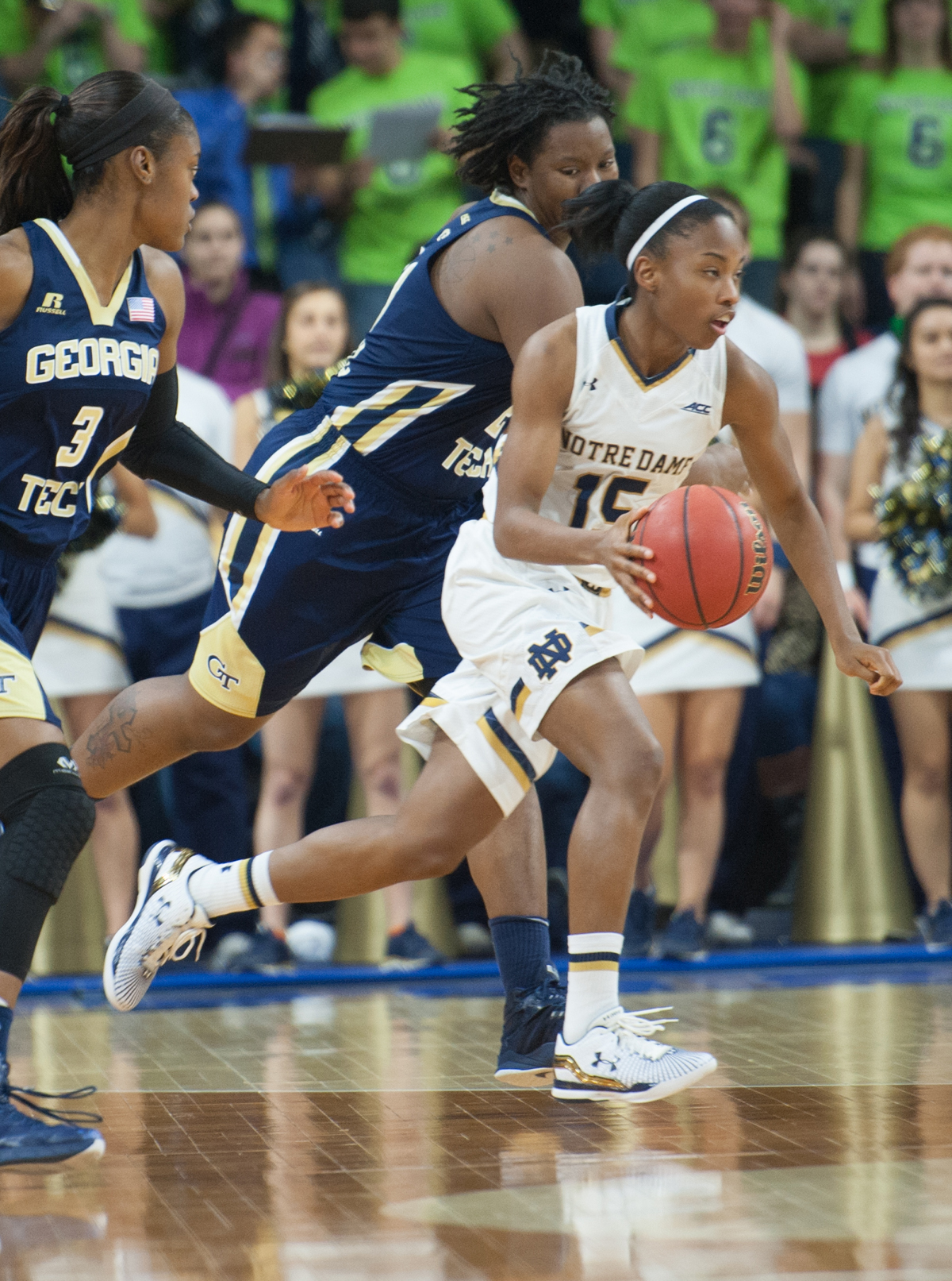 Irish sophomore guard Lindsay Allens races past a Georgia Tech defender in the Notre Dame win on Jan. 22.