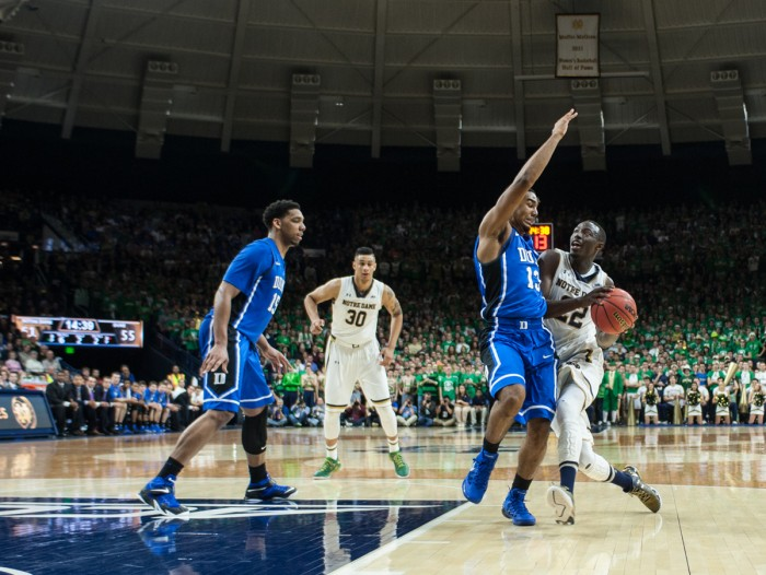 Irish senior guard Jerian Grant drives to the basket during Notre Dame's 77-73 win over Duke on Wednesday night at Purcell Pavilion.