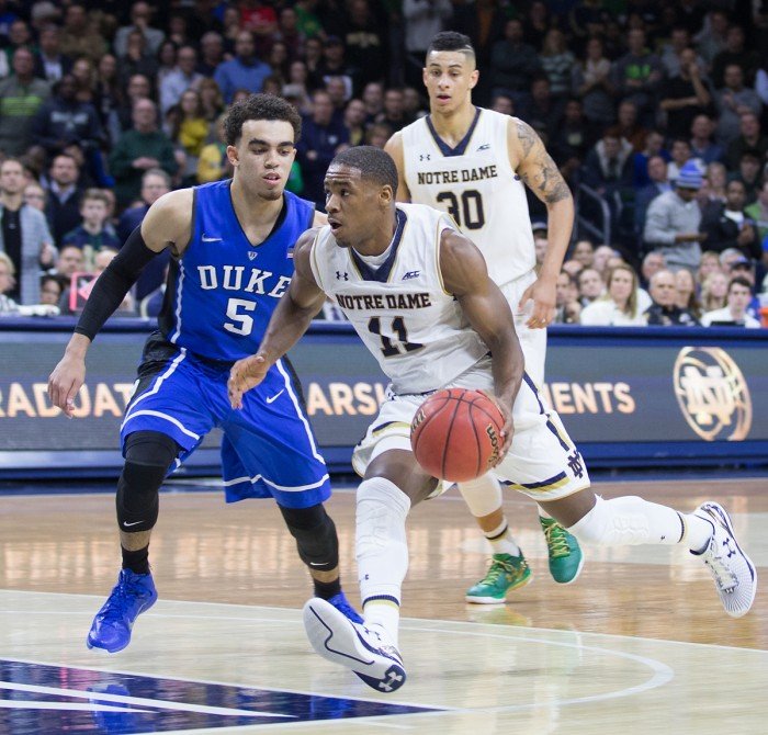 Irish sophomore guard Demetrius Jackson drives past a defender during Notre Dame's 77-73 win over Duke on Wednesday.