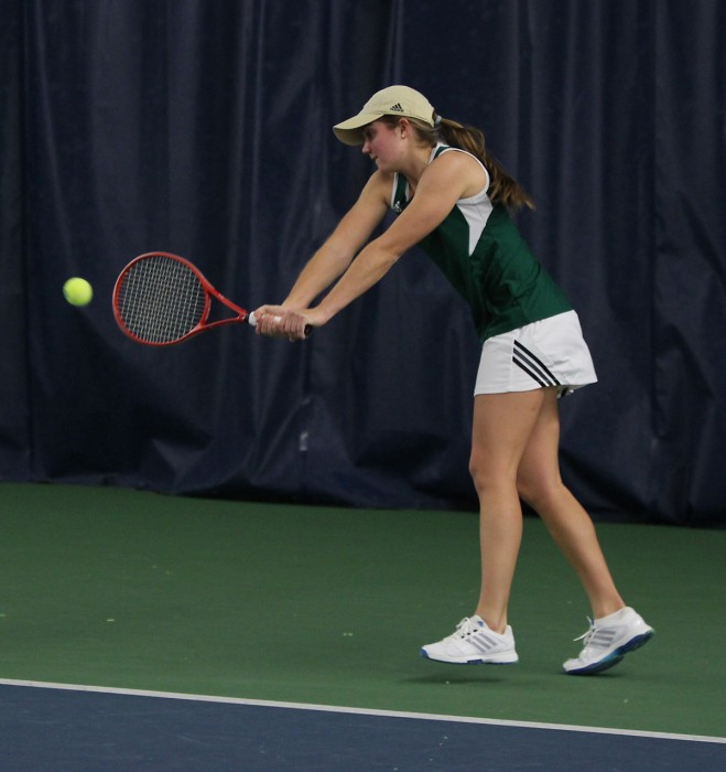Irish sophomore Mary Closs connects on a shot during Notre Dame's 4-3 loss to Georgia Tech on Feb. 21.