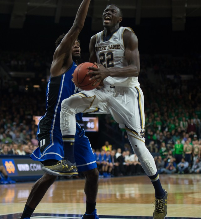 Irish senior guard Jerian Grant drives through a defender in the lane during Notre Dame's 77-73 win over Duke on Wednesday.