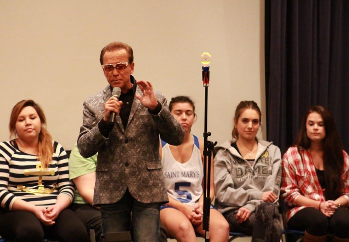 Dr. Jim Wand hypnotizes Saint Mary's students. Wand has also worked with celebrities like Jay Leno and Conan O' Brian.