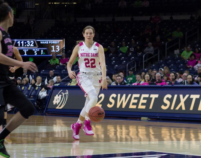 Irish senior guard Madison Cable makes her way up the court during Notre Dame's 92-63 win over Wake Forest on Sunday. Cable set a career-high in steals during the game, with six.