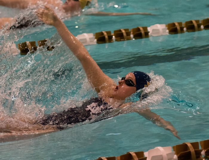 Irish sophomore Katie Miller competes in the backstroke during Notre Dame's 170-128 loss to Purdue on Nov. 1 at Rolfs Aquatic Center. Miller finished in the top five of three races at the meet.