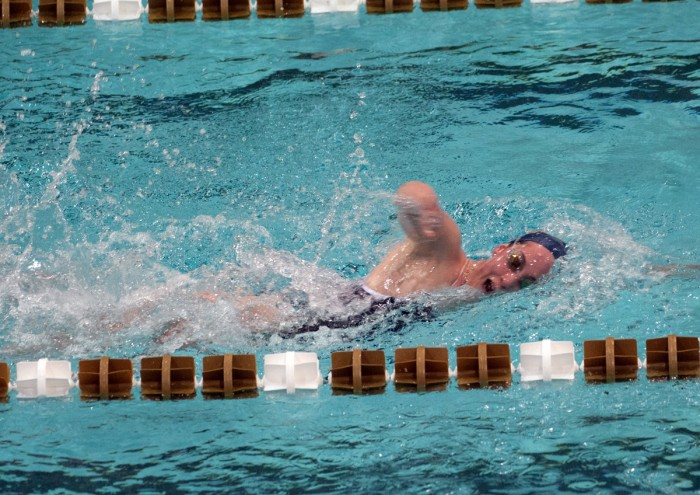 Senior Erin Foley swims the 200-meter freestyle during a win over Valparaiso at Rolfs Aquatic Center on Nov. 15, 2013.
