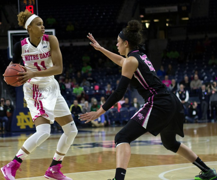 Irish freshman forward Brianna Turner surveys the court during Notre Dame's 92-63 win over Wake Forest on Sunday at Purcell Pavilion.