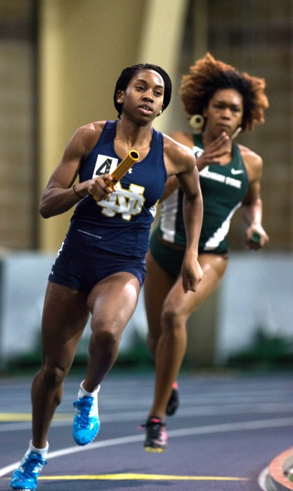 Junior Margaret Bamgbose runs in the 4x400-meter relay during the Notre Dame Invitational at Loftus Sports Center on Jan. 24.
