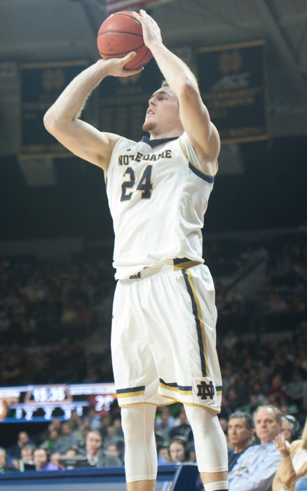 Notre Dame senior Pat Connaughton sets up to shoot  during a 71-63 win over Boston College on Feb. 4 at Purcell Pavilion.