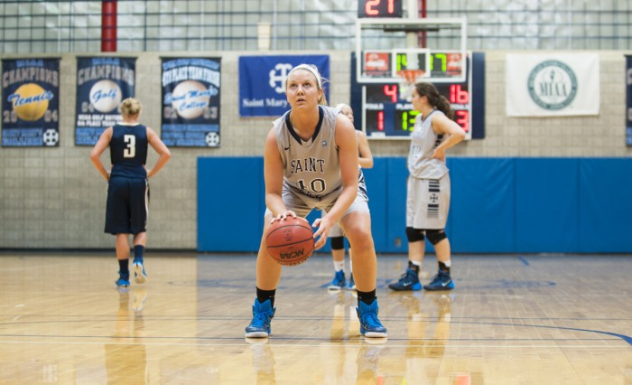 Junior Eleni Shea prepares for a free throw shot against Trine on Jan. 28. Shea and the Belles look to end their current slump against No. 7 Calvin on Saturday.