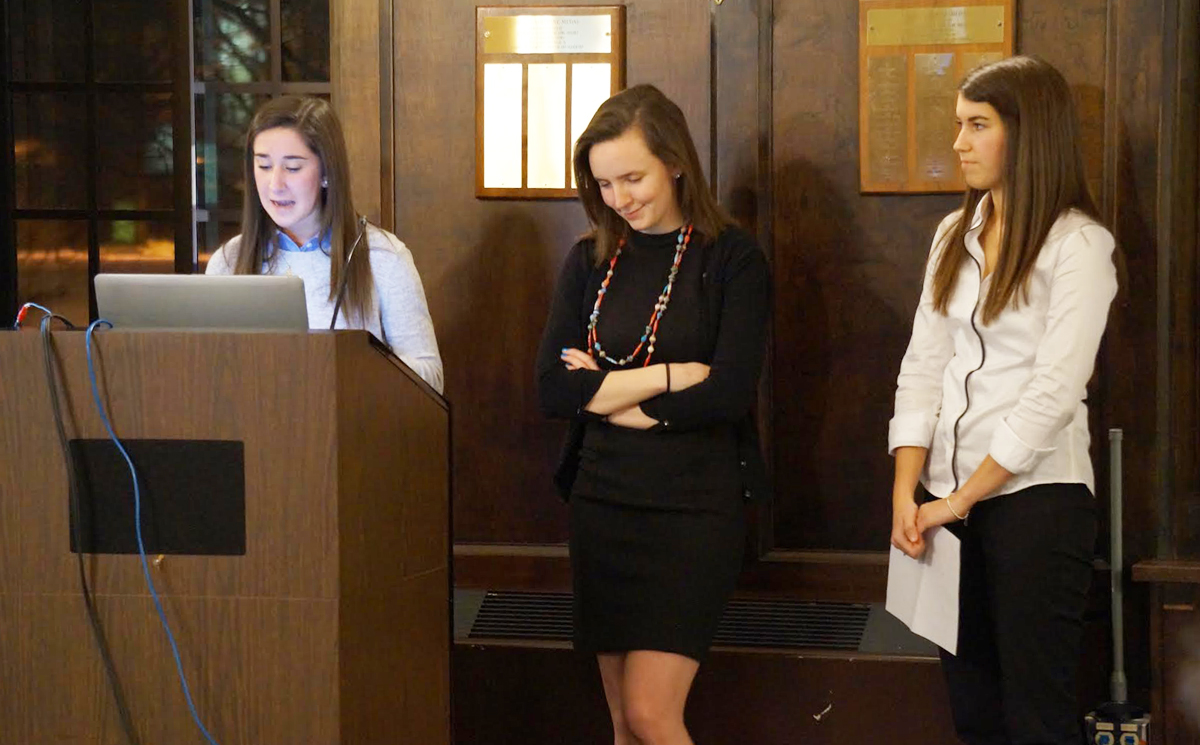 Nursing students Kelly Wilson, Julia Brehl and Janice Heffernan present on their experiences abroad providing medical assistance to people in need.