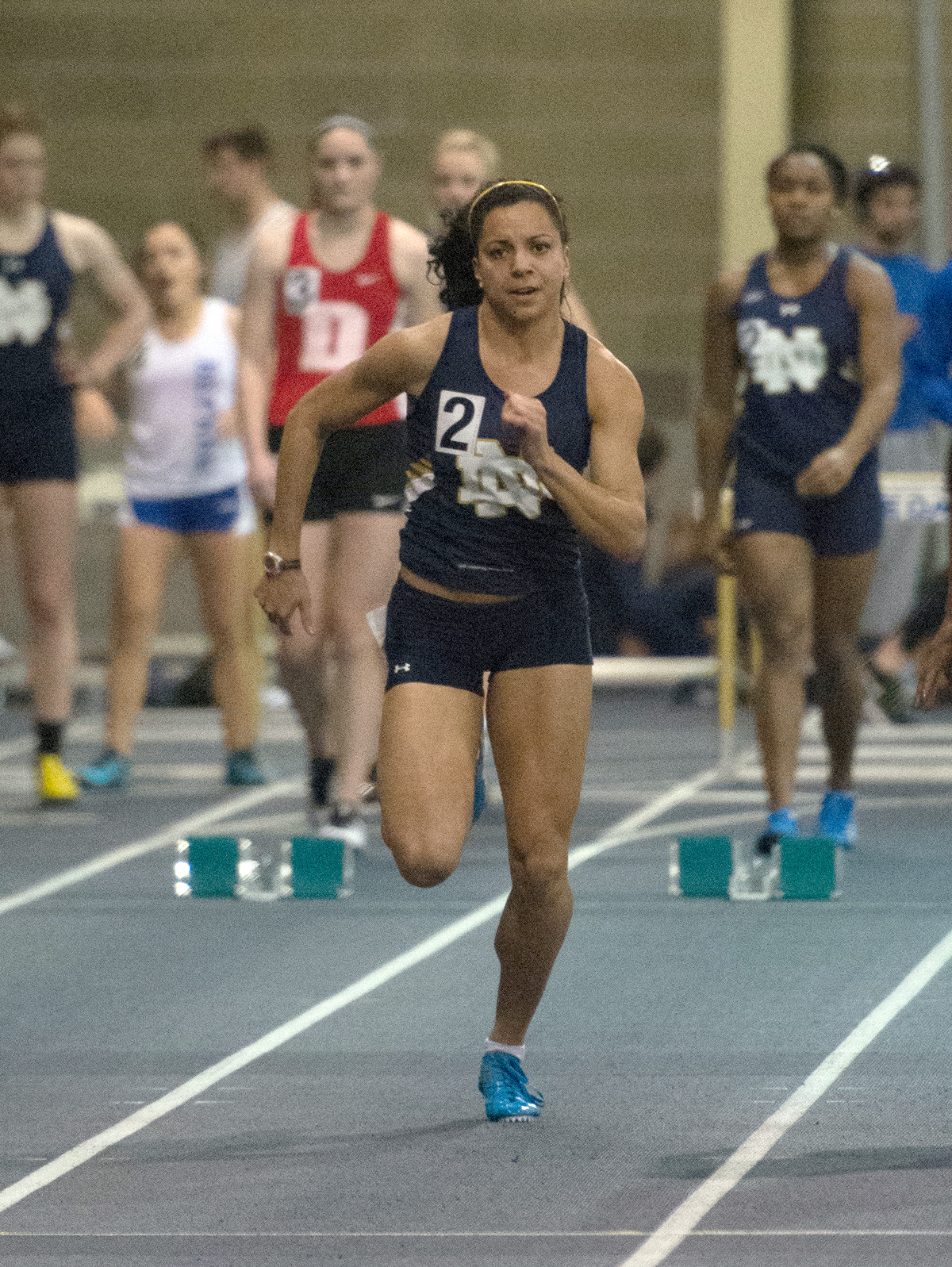 Irish senior Jade Barber competes in the 60-meter dash at the Blue & Gold Invitational on Dec. 5 at Loftus Sports Center. Barber took first place in the finals with a time of 7.59 seconds.