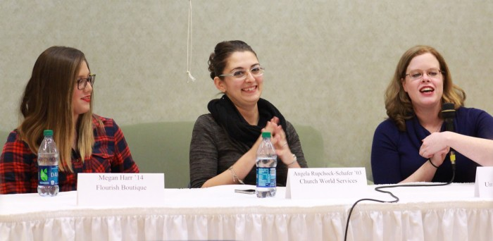 """Saint Mary's alumnae Megan Harr, Angela Rupchock-Schafer and Liz Harter discuss the applications of social media in the workforce at Monday's lecture titled """"Beyond Just Being Social"""" in Rice Commons."""