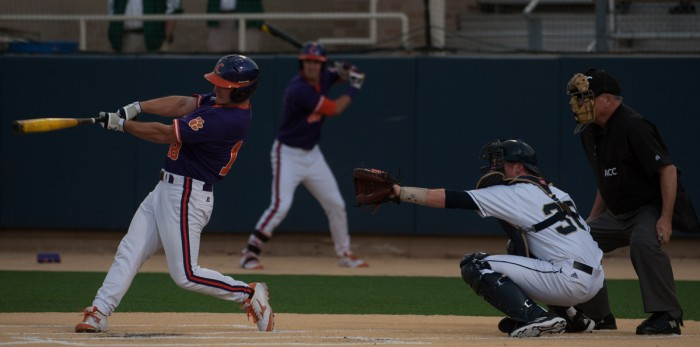 Irish sophomore catcher Ryan Lidge catches behind the plate last season against Clemson on May 9, 2014 at Eck Stadium.