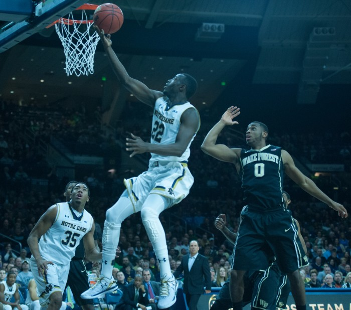 Irish senior guard Jerian Grant shoots for two against Wake Forest on Tuesday against Wake Forest in the Purcell Pavilion. Grant scored 24 points in the game.